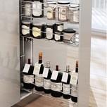 CARGO MINI boczne prawe na przyprawy i butelki 3-poziomowe do szafki szerokości 15cm. Kolor lakier biały Prowadnice boczne Rejs z hamulcem dł.45cm, wysuw...