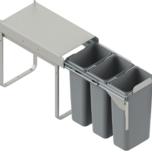 Kosz na śmieci potrójny JC604 do szafki 30 z mocowaniem frontu z prowadnicami kulkowymi pełnego wysuwu z dociągiem.  Idealne zastosowanie do kuchni w...