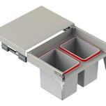 MAXIMA Szuflada z pojemnikami na odpady II 60 H=350 prowadnica L-400 metal lakier srebrny  * prowadnice pełnego wysuwu Rejs z miękkim dociągiem *...